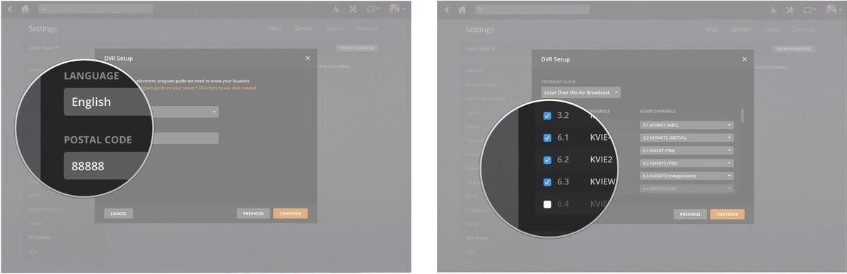 plex program guide missing shows